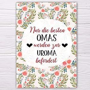 """A6 Postkarte""""Nur die besten Omas werden zur Uroma befördert!"""" in lachs/rot Glanzoptik Papierstärke 235g/m2 Geschenk Omas"""