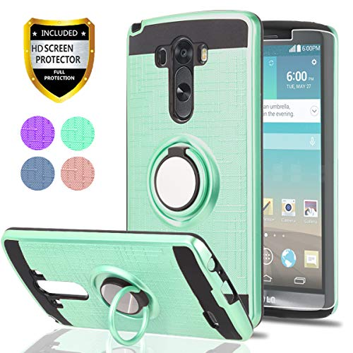 LG G3Handy Fall mit HD Handy Displayschutzfolie, ymhxcy 360Grad Drehbar Ring & Halterung Dual Layer Beständig Back Cover für LG G32014-zh, ZH-Mint (Lg Fall Tmobile G3)
