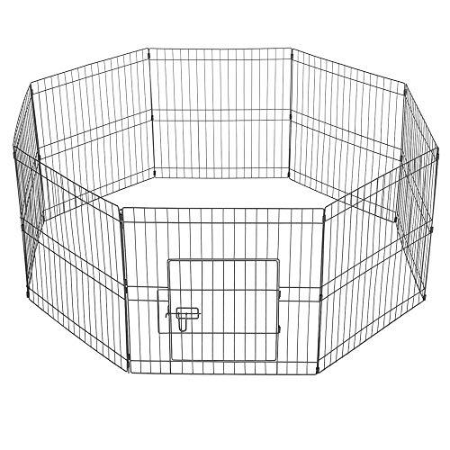 Yaheetech 8-TLG Welpenlaufstall Laufgitter Freilaufgehege Welpenzaun für Hund Katze Welpe Kaninchen mit Tür je Panel ca. 61 x 61 cm