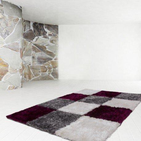 Preisvergleich Produktbild Teppich Shaggy Damier violett grau wei–120x 170