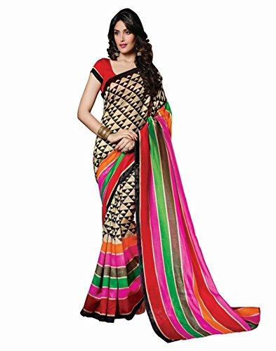Superb Design MultiColor Striped Mysore Silk Sarees With Blouse Piece