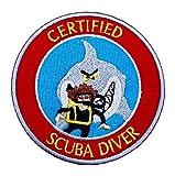 Zertifiziert Scuba Diver Patch 9cm Embroidered Iron on Badge Tauchen Aufnäher Shark Kostüm...