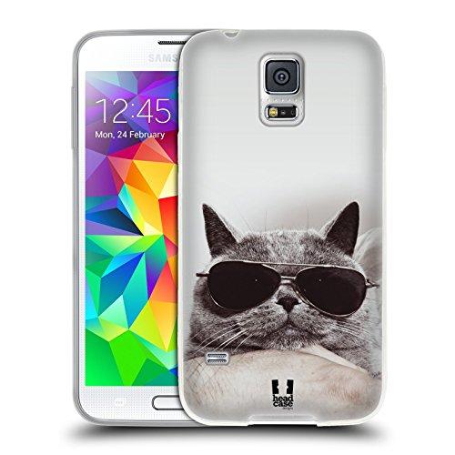 Head Case Designs Graue Britische Katze Mit Sonnenbrille Katzen Soft Gel Hülle für Samsung Galaxy S5 / S5 Neo