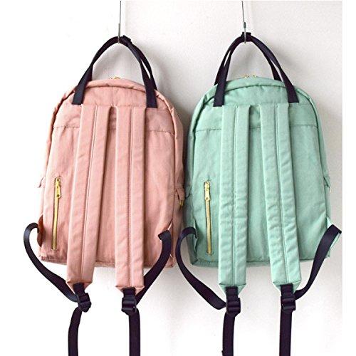 Unisex Japanischer Art-Rucksack-wasserabweisendes Polyester-Tuch-Spielraum-Rucksack 2 Schichten Multifunktionsspeicher-Rucksack-neue Handtasche Mehr Taschen Schultasche ArmyGreen
