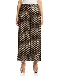 Global Desi Womens Relaxed Pallazo Pants (X25100APLZ342_Black_XL)