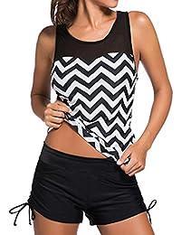Addfect Tankini Imprimé Short Jupette Maillots de Bain Femme 2 Pieces Sexy Bikini Taille Haute Soutien-gorge Rembourré sans Armature Beachwear(M-3XL) (XL, Gris)