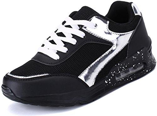 JOOMRA Damen Air Schuhe Konstrukteur Sports Gehen Laufen Beiläufig Büro Ausbilder Sneaker Laufschuhe Fitness Max Frauen Mädchen Turnschuhe Gym Schwarz Weiß 39 EU
