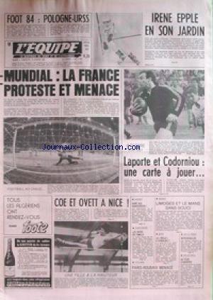 EQUIPE (L') [No 11091] du 09/01/1982 - FOOT 84 - POLOGNE ET U.R.S.S. - IRENE EPLE EN SON JARDIN - LAPORTE ET CORDORNIOU - MUNDIAL - LA FRANCE MENACE - COE ET OVETT A NICE - HOCKEY - PARIS-DAKAR - LES NEVEU - CYCLISME - PARIS-ROUBAIX - JEU A XIII - VOLLEY - ASNIERES.