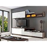 Mueble modular de comedor o salón de 240cm en color wengue y blanco.