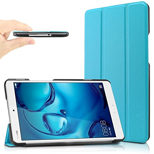 Huawei MediaPad M3 8.4 Hülle, Infiland Ultra Dünn Tri-Fold Smart-Muschel PU Leder Ultra Schlank Superleicht Ständer Smart Shell Cover Schutzhülle Etui Tasche für Huawei MediaPad M3 8.4 Tablet-PC (mit Auto Schlaf / Wach Funktion)(Hellblau)