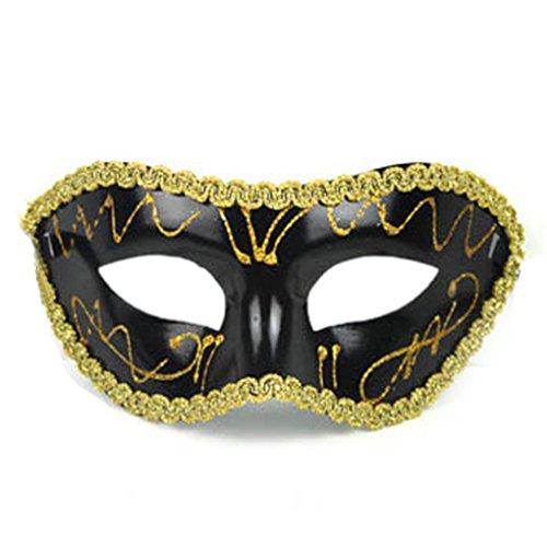 LUFA Flache umgebende Rand-Masken-Maskerade-Halloween-halbe Gesichts-Partei-Maske der Männer (Maske Mann Schwarz Maskierter)