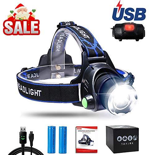 AUKELLY LED Stirnlampe Wasserdicht LED Kopflampe USB Wiederaufladbare LED Kopflampen Aufladbar, 3 Lichtmodi 1000 Lumen Super Hell Kopflicht Stirnlampen, Perfekt für Camping und andere Outdoor Sport
