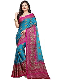 Jaanvi Fashion Women's Peackock Printed Crepe Silk Kalamkari Printed Saree (designer-saree-2018-sky-blue)