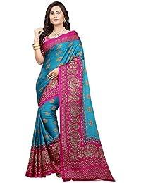 Jaanvi Fashion Women's Peackock Printed Crepe Silk Kalamkari Printed Saree (designer-saree-2018-sky-blue)