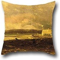 Pittura a olio William Lamb Picknell–Cottage by the Sea federe 45,7x 45,7cm/4545cm scelta migliore per BF, ragazzi, Parenti, madre, Camera da letto, sala da pranzo con 2lati