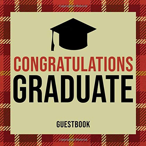 uate: Guest Book For Graduation Celebration With Decorated Interior Red Plaid Design Soft Cover ()
