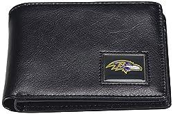NFL Baltimore Ravens Men's Leather RFiD Safe Travel Wallet, 4.25 x 3.25