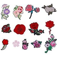 Faburo 13pcs Bordado Rosa Flor Coser Parches Termoadhesivos Apliques