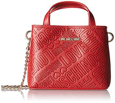 Love Moschino Borsa Embossed Pu Rosso - Borse Baguette Donna, Rot (Red), 15x19x7 cm (B x H T)