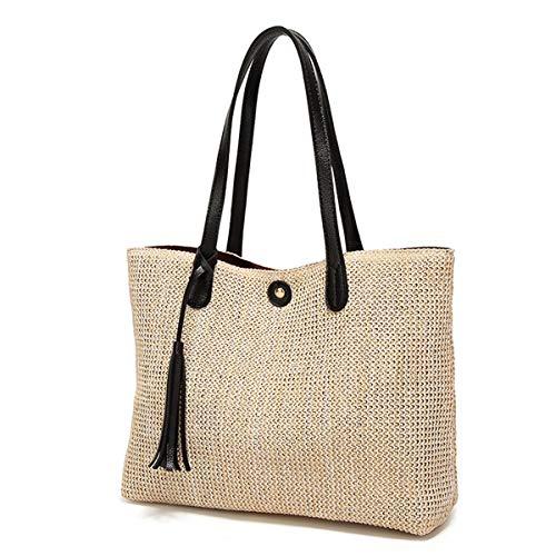 louzheni Strohtaschen großer Strandkorb Korb Einkaufstasche Quaste Tasche mit Ledergriffe Einkaufskorb groß natur