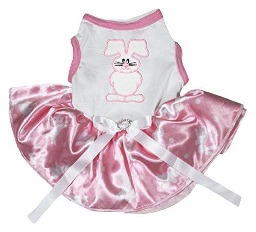 leidung, Kleid, Hund, Ostern Bunny, Weiß, mit Punkten, Rosa Tutu (Oster Bunny Kostüm Für Erwachsene)