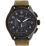 Timex Herren-Armbanduhr XL Timex IQ Linear Indicator Chrono Analog Quarz Leder T2P276