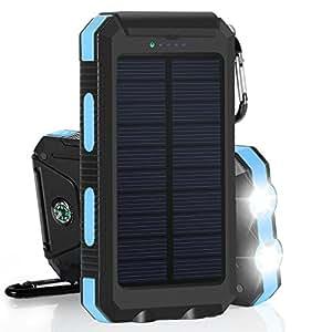 wasserdichte 10000mAh Solar Power Bank, Solar Ladegerät, Externer Akku mit superhelle Taschenlampe, Akku pack für Handy (schwarz-blau)