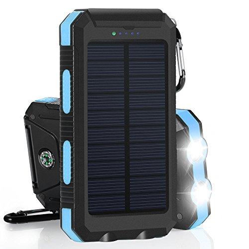 10000mAh Cargador Solar Impermeable, Batería Externa Portátil con 2 LED...