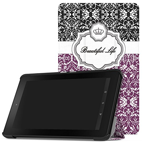 MoKo Fire 2015 7 Zoll Hülle - Ultra Slim Lightweight Schutzhülle Smart Cover Case mit Standfunktion für Amazon Fire Tablet (Vorherige 5th Generationeration - 2015 Modell) Tablet, Krone Violett - Für 7-zoll-kindle Ständer