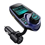 FM Trasmettitore OMorc Bluetooth Auto Kit Car Charger Wireless USB con 3,5mm Porta Audio, Slot per Scheda TF 1,44 Pollici di Schermo Supporta la...