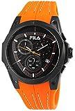 FILA Herrenuhr mit Silikonarmband Chronograph Schwarz Orange Sportlich Modern 10 ATM Wasserdicht Datum Stoppfunktion