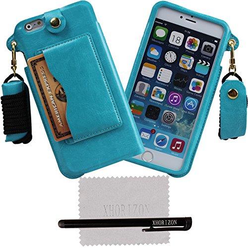 xhorizon® Tragegurt PU Leder Tasche Kartenhalter Stand Case Hülle für 5.5 Inch iPhone 6+ Plus Blau