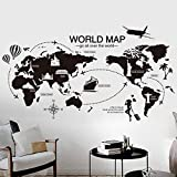 QTZJYLW Kreative Reise Um Die Welt Karte Muster Wandaufkleber Abnehmbare PVC Wand Dekorationen Wohnzimmer Wohnkultur Wandtattoo (60 × 90 cm)