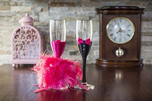 Federleicht Fuchsia Schleife Hochzeit champagner Flöten Gläser, glas, Pink, 5x22.5