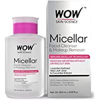 WOW Micellar Water Facial Cleanser & Makeup Remover - No Parabens, Sulphates, Mineral Oils and Alcohol - 180 mL