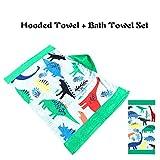 Florica Kinder Kapuze Badeponcho Handtuch + Badetuch 2 stücke Set 100% Baumwolle Strand Schwimmen für Jungen Mädchen Kinder und Erwachsene (Dinosaurier)