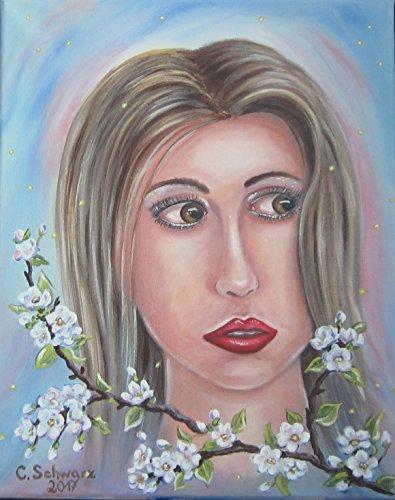 Acrylgemälde CHERRY BLOSSOM GIRL (Malerei Cherry Blossom)