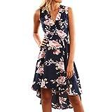 Bekleidung Longra Damen Boho Sommerkleider Lange Ärmel Schulter Kleid Blumenmuster Party Kurzes Strandkleid (XL/40, DarkBlue01)