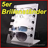 Brillenständer Brillendisplay Brillenhalter für 5 Brillen aus Acrylglas auch für 3D-Brillen