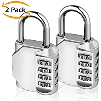Combination Lock, [2 Pack]E2Buy® 4 Digit Padlock for School Gym Locker, Luggage Suitcase Baggage Locks, Filing Cabinets, Toolbox, Case(Silver)