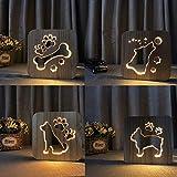 Cane artiglio di legno gatto animale notte luce bulldog francese lampada da tavolo alimentata lampada da tavolo regalo di Natale Capodanno