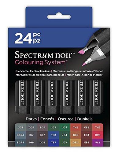 Spectrum Noir - Mischbare Alkohol-Marker, Dunkels, 24 Stück (Alkohol-system)