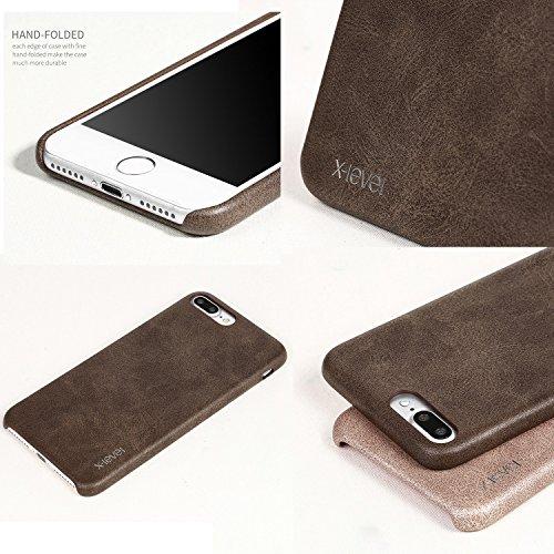 """MOONCASE iPhone 7 Plus Hülle, Jahrgang Prämie PU Leder Hart PC Handy Schutz Tasche Schutzhülle Case für iPhone 7 Plus 5.5"""" Rot Gold"""