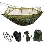 KEPEAK Hamaca Doble para Exteriores con mosquitera y Correas para árboles, Hamaca portátil de Nailon Resistente para mochileros, Camping, Viajes, Patio