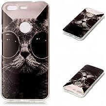 Qiaogle Teléfono Caso - Funda de TPU silicona Carcasa Case Cover para HTC Google Pixel / Nexus S1 (5.0 Pulgadas) - YH22 / Gafas gato