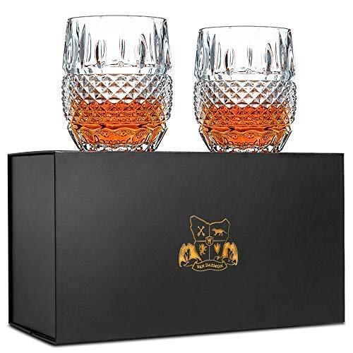 Set di 2bicchieri da whisky. Bicchieri di cristallo senza piombo (300 ml). 'Crystal Cask' di Van Daemon per liquori, Bourbon, Scotch. In una bellissima confezione regalo