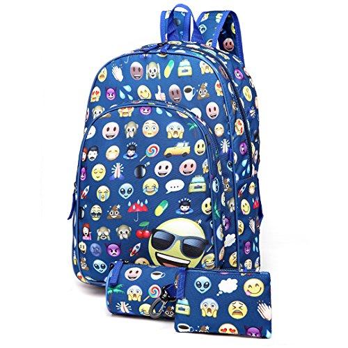Canvas Schulrucksack 3 Stück SET Rucksäcke Backpack Daypacks Federmappe Geldbörse Schule Reise Shopper (E6629-1/Dunkelblau) (3-fach-shopper)