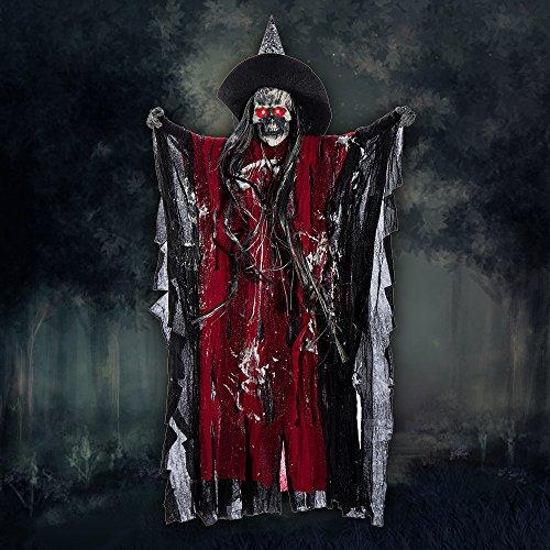 Halloween Deko Zombie Gruselig Hängend Gespenst Augen Glänzend gruselige Stimme Sound Control (Halloween Dekorationen Uk Zombie)