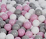 Velinda 150 Bälle,Bällebad/Bällezelt/Kinderpool Plastikbälle Spielbälle Kinderbälle O7cm (Farbe der Bälle: Weiß,Rosa,Grau)