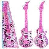 YAKOK 4 Cuerdas Guitarra Electrica Niños Guitarra Bebe Juguete para Niños y Niñas 2-5 años (Rosa)